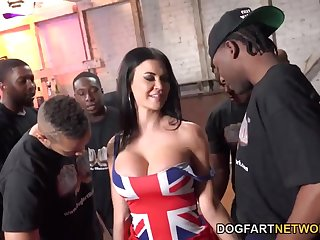 Tall UK MILF with bulky breast enjoying a steamy interracial gangbang sex