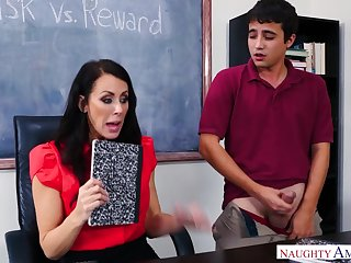 A young panhandler wants to more advisedly his grade so he fucks his hot busty instructor