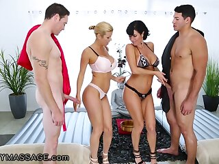 Cougar masseuses Alexis Fawx coupled with Veronica Avluv are fucked by duo unpredictable intensify living souls