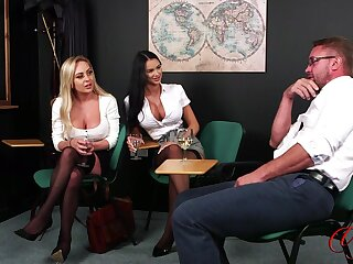 Busty pornstars Chloe Love and Taylor Flesh-coloured strip for a tramp