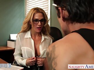 Busty tattooed blonde boss Sarah Jessie is nailed fixed on the take meals