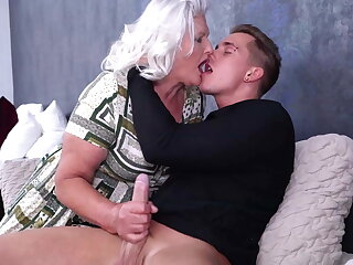 Granny blows and fucks young pervert pal