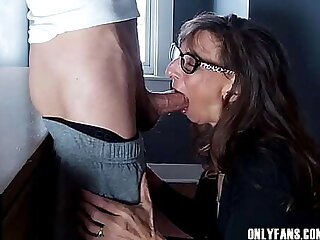 Sexy Granny Swallows Cum Outsider A Obese Cock