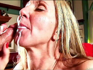 Sexy grown-up lady relating to stockings sucks and fucks for a facial cumshot