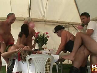 Bitches swap partners during sex party