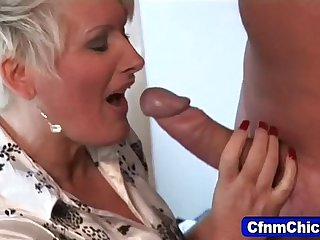 Mature domina milks loser
