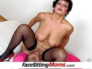 Big natural breasts madam Greta facesitting and muff diving