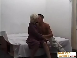 old beautiful grandma ridding on grandson cock