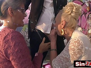 Crazy Italian Talent Show XXX Fucktory - Outrageous Double Granny Blowjob