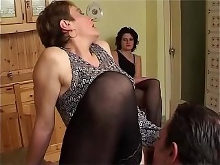 Old grandma helps her niece get fucked by her boyfriend