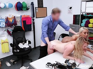 Security guy punishes shoplifting stepmom Kylie Kingston and their way yummy stepdaughter