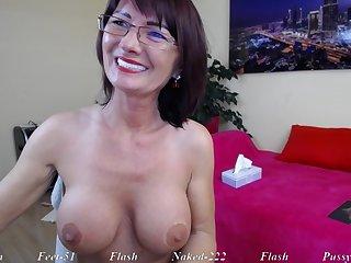 Brunette Mature mom in eyeglasses repartee solo on webcam
