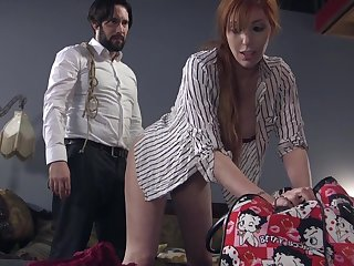 Bearded guy ties up and fucks red haired submissive Lauren Phillips