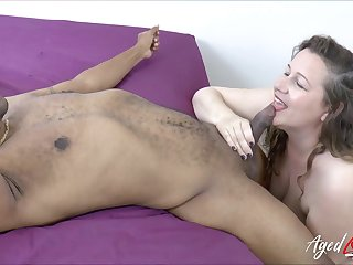 Black gigolo fucks oversize white woman Eve and cums in say no to swollen snatch