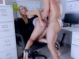 Big-assed boss Indian Summer shagged and creampied wide of endowed assistant