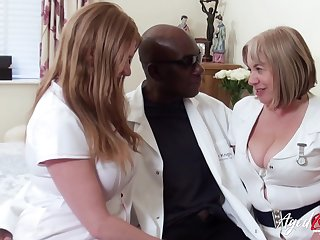 Two broad in the beam head nurses bang one black man added to eat his cum greedily