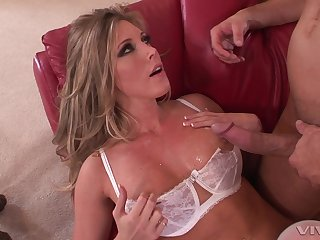 Busty blonde wife Samantha Saint in white lingerie milking a cock