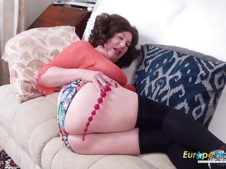 Old abstinent piece of baggage Trisha is masturbating with different sex toys