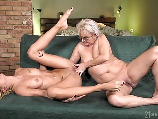 superannuated and young lesbian love with petting and pussy fingering