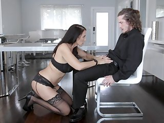 MILF in sexy lingerie gets on the move with step son's erect monster