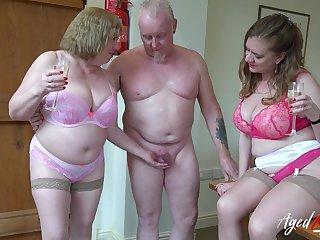 A handful of perverted old housewives bangs one dude living nextdoor