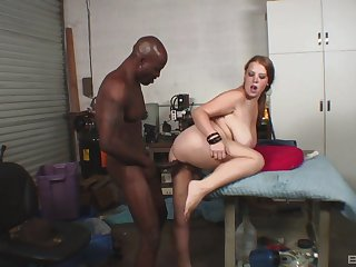 Black hunk suits this busty woman with the applicable hardcore