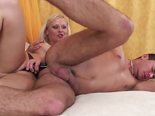 Blonde mistress ass fucks will not hear of man then licks his sperm off