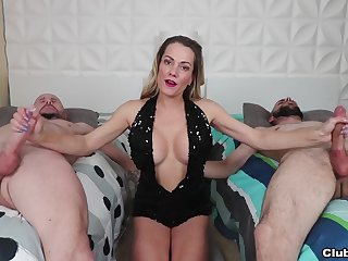 Fake tits fit together Allura Skye jerks off her husband added to his side