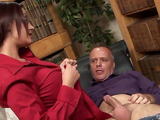 Brunette wife Emma Tokus up glasses fucked by a horny neighbor