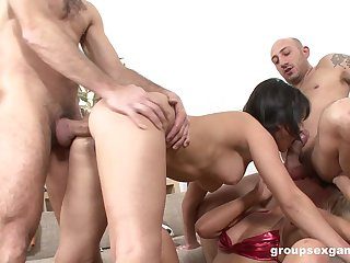 Bitches are being constant fucked in a wild foursome