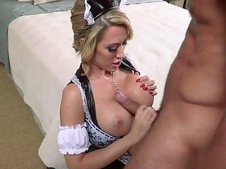 Mature blonde Capri Cavani in stockings fucked balls unfathomable cavity on hammer away bed