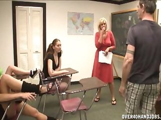After class handjob front with three puberty and mature Carey Riley