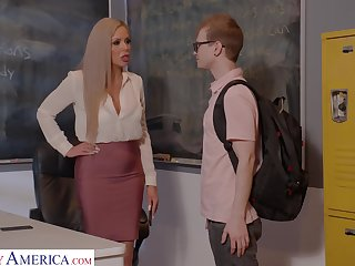 Horn-mad nerdy MILFie tutor Nina Elle fucks copiously with her student beyond everything the desk