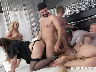 Really wild orgy with dirty like mud mature whores longing for orgasm