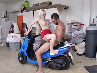 Hot blonde starlet Natasha James fucked on a blue scooter