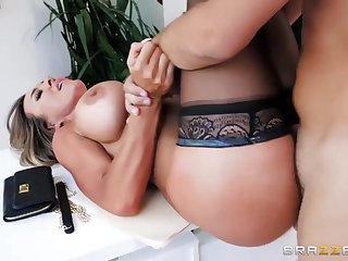 Aubrey Stygian is a big titted woman in black stockings who likes to fuck her neighbor