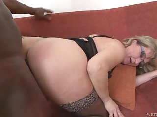 Mature PAWG Aja C takes cumshots on glasses after hardcore sex with young black sponger
