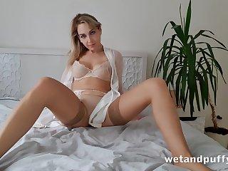 Alone emotional and beautiful hottie relating to beige stockings Siya masturbates pussy