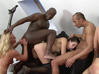 Wild interracial group sex with a ebony toff and naked sluts