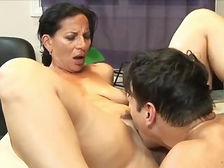 Stunning 63yo Mature Mom with Hot Body having Orgasm with her 22yo Boss