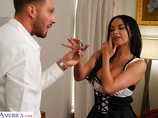 Honcho MILF dressed upon a blue French maid outfit has sex with her boss