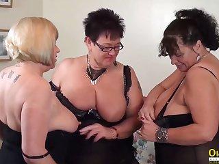 OldNannY Auntie Trisha Triune Lesbian Party Masturbation
