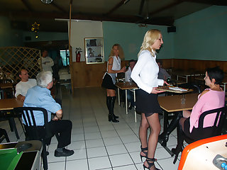 Anal with hot maids at restaurant
