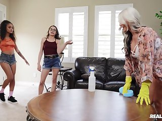 Naked beauties share their lesbian passion around a bizarre home play