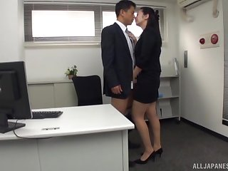Hot office female is keen for the new guy's Asian cock
