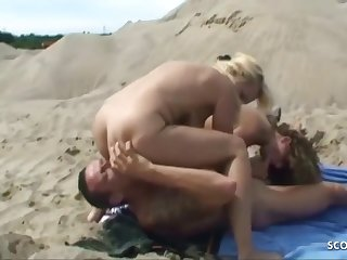 Two German Homo Milfs Catch And Sum up In Mmf, Threesome Sexual relations