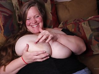 Mature chubby little one with eminent boobs