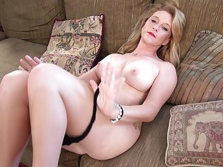 Horny mature wife Jasper Shelton fingers her shaved make the beast with two backs chasm